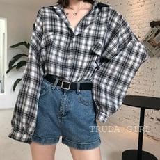 《杜達女孩》初秋棉質寬鬆襯衫 寬鬆 格子襯衫 泡泡袖 格紋 bf風 罩衫 襯衫外套 防曬 長袖襯衫