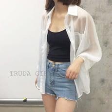 《杜達女孩》韓國寬鬆雪紡防曬罩衫 白色襯衫 寬鬆蝙蝠袖 百搭雪紡罩衫 開衫外套 薄款防曬外套 長袖襯