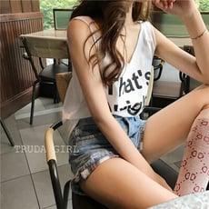 《杜達女孩》涼爽字母背心~街頭時尚百搭款寬鬆 吊帶背心 女 無袖 露肩上衣 印花背心 T恤 女 棒球