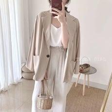 《杜達女孩》簡約韓風翻領西裝外套 雪紡氣質薄款西裝外套 中長版 休閒寬鬆 外套 雪紡外套 西裝外套