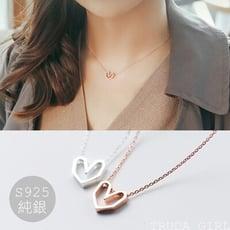 《杜達女孩》送拭銀布 純銀鏤空愛心項鍊 頸鍊 短項鍊 玫瑰金色 氣質色 短款 鎖骨鍊 女 飾品 項鍊