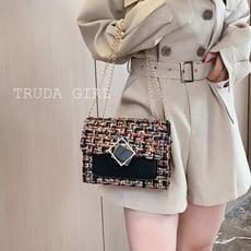 《杜達女孩》兩用 法式小眾編織包 秋冬小香風歐美 斜背包 手提包 側背包 鏈條包 肩背包 方包 女