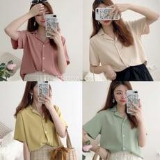 《杜達女孩》韓色系列 小西裝領短袖襯衫 百搭簡約純色襯衫