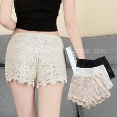 《杜達女孩》雙層不透 高腰蕾絲花邊短褲 水溶性蕾絲 外穿 內搭安全褲 防走光 內裡 花邊 內搭褲 女