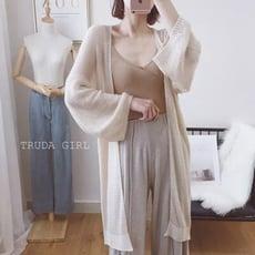 《杜達女孩》氣質鏤空海馬毛長版開衫針織外套