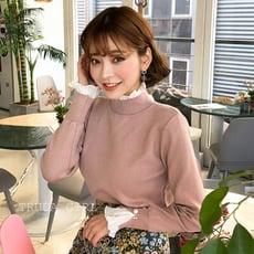 《杜達女孩》韓版氣質包心紗假兩件式荷葉邊毛衣