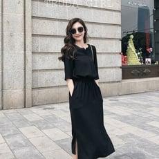 《杜達女孩》超美赫本女神連身裙 時尚復古百搭收腰 開叉雪紡 小黑裙 連身裙 一件式 黑色洋裝 大尺碼