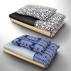 玩色幾何竹面單人透氣床墊+枕頭組合 冬夏兩用 學生床墊 和室墊 (2色可選)