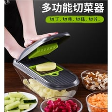 多功能升級蔬果處理器 刨絲器 料理器 切菜器 切絲器 刨絲 切片 切丁 切絲 廚房料理用具15件合一