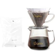 CaféFalcon玻璃咖啡濾杯+壺組合+日本三洋濾紙