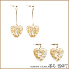 『akiko亞希子』 清新甜美風格透明金箔愛心造型耳環