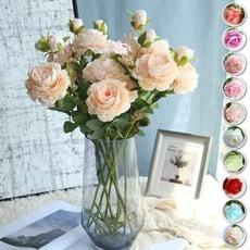 【幸福小舖】 三頭西洋玫瑰(牡丹) 攝背景擺件 裝飾 拍照道具(10色)