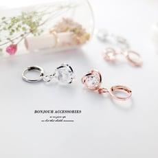 韓國環繞 三角鑽 環扣針式 耳環【Bonjouracc】