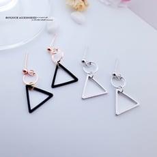 韓國 簡約小圈三角幾何 夾式 針式 925銀針 耳環 【Bonjouracc】