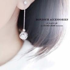 韓國麻花球 垂墜簍空珍珠 耳環 夾式 針式 【Bonjouracc】