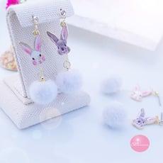 韓國小兔毛球 耳環 夾式 針式 鋼針 夾式耳環【Bonjouracc】