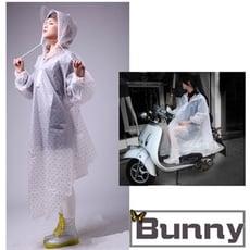 日式半透明可愛波點斗篷式EVA 機車防風雨衣(柔軟觸感款)