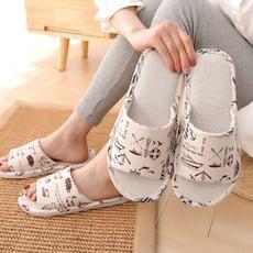 【生活好室】日系 造型亞麻布編織透氣軟底 室內拖鞋