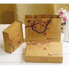 鳥語花香 4粒裝63-80g牛皮月餅盒 復古牛皮紙 月餅盒 蛋黃酥 包裝盒 餅乾 包裝盒【C064】