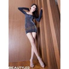 性感睡衣 銀黑閃亮極性感緊身透視酥胸超短裙 6857
