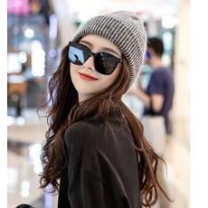 條紋毛線帽 針織帽 雙層保暖帽