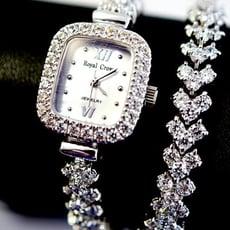 Royal Crown 奢華鑲鑽貝殼面加長手鍊錶/手錶(1514BB)