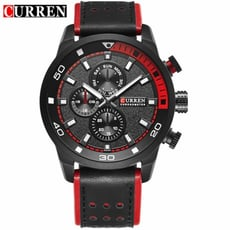 軍事風格造型三眼皮帶錶/手錶(8250)