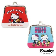 藍色款  凱蒂貓 Hello Kitty 小型 防震棉 珠扣包 零錢包 三麗鷗 【439484】