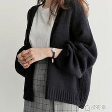 寬鬆純色百搭短款針織衫女外搭毛衣外套慵懶風開衫潮