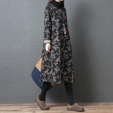 秋冬季民族風大碼女裝寬鬆顯瘦夾棉加厚打底裙印花純棉衛衣洋裝