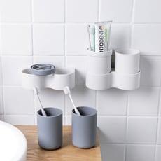 多功能壁掛牙刷盒套裝 雙杯 壁掛式免打孔 漱口杯架 牙刷架 洗漱套裝 牙刷杯架