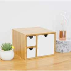 辦公室桌面收納盒架 抽屜式竹木創意客廳臥室雜物辦公用品整理盒 - 竹白三抽