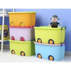 玩具收納箱塑膠特大號箱子有蓋寶寶家用儲蓄兒童可愛儲物盒整理箱现货 - A款-加大號(顏色備註)