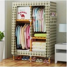 星洋*一件免運間約現代6面花布牛津布衣櫃中號學生衣櫃單人衣櫃間易衣櫃實木衣櫃組合衣櫥