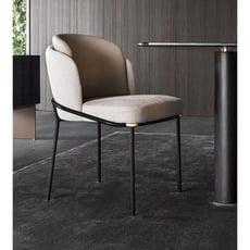 星洋家居意式輕奢北歐後現代網紅間約金屬皮配布寫字椅咖啡廳餐廳高檔餐椅