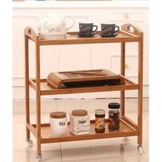 一件免運 廚房置物架可移動帶輪子推車餐車落地多層架儲物架整理收納架子竹 - 棕色四層帶輪移動餐車
