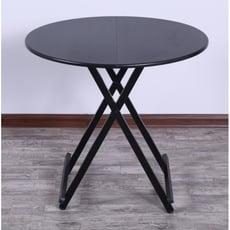家用折疊桌多功能簡易吃飯桌子飯桌圓桌收縮小圓形可折疊簡易餐桌 - 炫酷黑 直徑1米大圓桌黑架