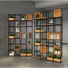 免運 置物架 層架 書架 展示架 鐵架 落地架 置物架 落地簡約創意書架複古客廳工業風格子架裝飾櫃鐵