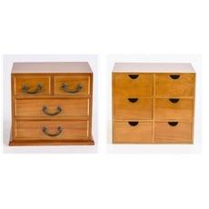 一件免運 復古桌面收納盒 實木創意多層收納盒抽屜式儲物櫃辦公整理盒 - 3層6抽