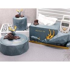 北歐ins幾何鹿紙巾盒創意客廳家用抽紙盒遙控器收納盒餐桌面擺件 - 三件套