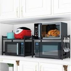 伸縮廚房置物架微波爐架烤箱架子落地家用2層電飯煲儲物收納雙層 -  雙層加厚黑色伸縮架