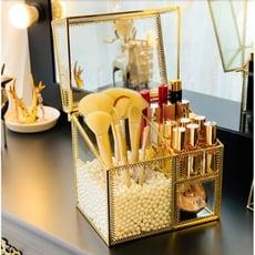 一件免運 北歐ins風化妝刷子收納桶玻璃珍珠筒口紅美妝桌面防塵帶蓋收納盒