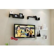 墻上置物架壁掛 電視墻壁背景裝飾木擱板墻架墻面s型隔板創意書架