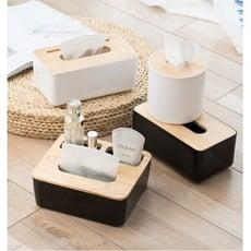 桌面收納紙巾盒客廳抽紙盒ins風卷紙筒家用簡約實木餐巾紙盒北歐 - 三格方形白色