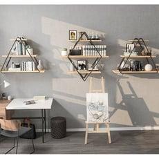墻上房間裝飾品置物架北歐鐵藝創意格子壁掛客廳實木壹字擱板 - 組合中號+2個款式a小號