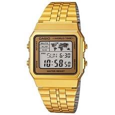 【CASIO】世界城市復古摩登不鏽鋼電子金錶-金框 (A-500WGA-9)