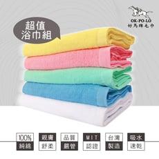 【OKPOLO】台灣製造家用素色浴巾-2條組(100%棉 超強吸水)