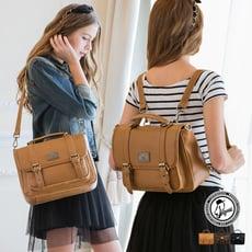 1/2princess升級版復古皮革雙扣三用包側背包 後背包 手提包-3色[A2685]