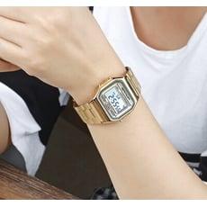 SANDA 新款男女學生電子錶復古金色防水鋼帶方型錶小金錶