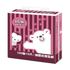 BeniBear邦尼熊復古酒紅條紋抽取式衛生紙100抽10包6袋